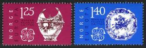 Norway 675-676, MNH. Europa CEPT. Ceramic Bowl, Plate, 1976