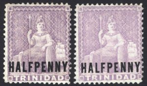 Trinidad 1879 1/2d LilacMauve Varieties SG 98x-99a Sc 62v's LMM/UN Cat£68($90)