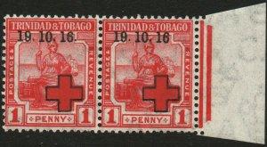 TRINIDAD & TOBAGO-1916 1d Scarlet Pair no stop after '16' Sg 175/175a LMM V48559