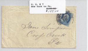 US Scott #7 used on cover