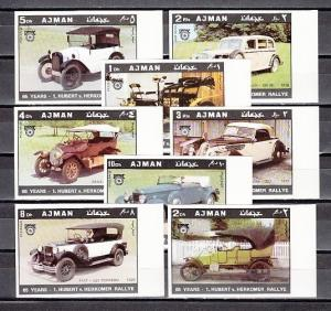 Ajman, Mi cat. 613-620 B. Old Automobiles, IMPERF issue.