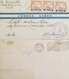 A) 1930, EL SALVADOR, MAP GUATEMALA WITH OVERPRINT, FROM HAVANNA- CARIBBEAN, AIR