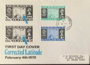 Guernsey Bailwick First Day Cover Corrected Latitude February 4, 1070