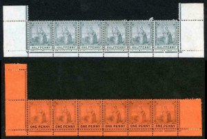 TRINIDAD 1905 SG132/3a Var 1/2d and 1d LINE PERF 13.75 The UNIQUE STRIPS U/M