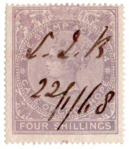 (I.B) Cape of Good Hope Revenue : Stamp Duty 4/- (1865)