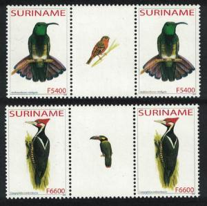 Suriname Green mango Woodpecker Birds 2v Gutter Pairs SG#1995-1996
