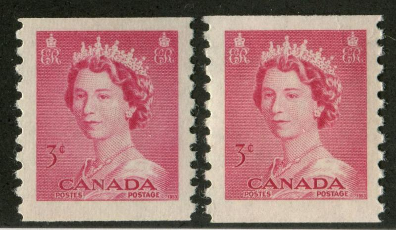 Canada #332 3c Car. Rose 1953 Karsh Issue Coil 2 Shades Smooth Paper - VF-75 NH