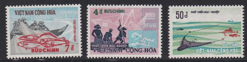 Viet Nam (South) # 408-410, Trawler Fishermen & Fish, NH, 1/2 Cat.