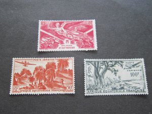 French Equatorial Africa 1946 Sc C24,31,32 MH