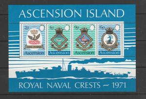 Ascension 1971 Naval crests MS UM SG MS153