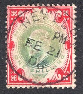 Great Britain  #138  1902  used Edward VII  1s dull green and red