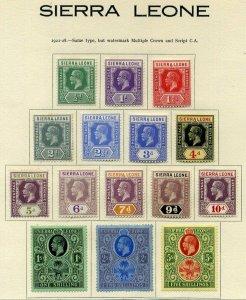 Sierra Leone 1921 King George V Set to 5sh SG131 to SG45 Mounted Mint