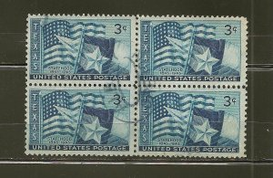 USA 938 Texas Block of 4 Used