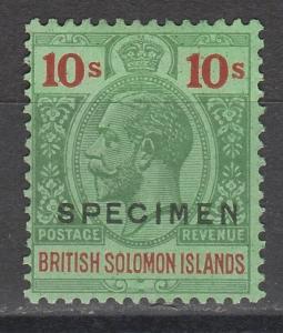 BRITISH SOLOMON ISLANDS 1922 KGV 10/- SPECIMEN WMK MULTI SCRIPT CA