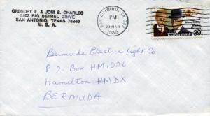 Airmail Issues 39c Sperry 1988 San Antonio, TX 782 Airmail to Hamilton, Berm...