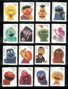 5394 (a-p) Sesame Street Set Of 16 Singles Mint/nh Free Shipping