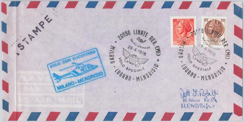 AVIATION - ITALY -  POSTAL HISTORY: SPECIAL HELICOPTER FLIGHT - COVER 1978