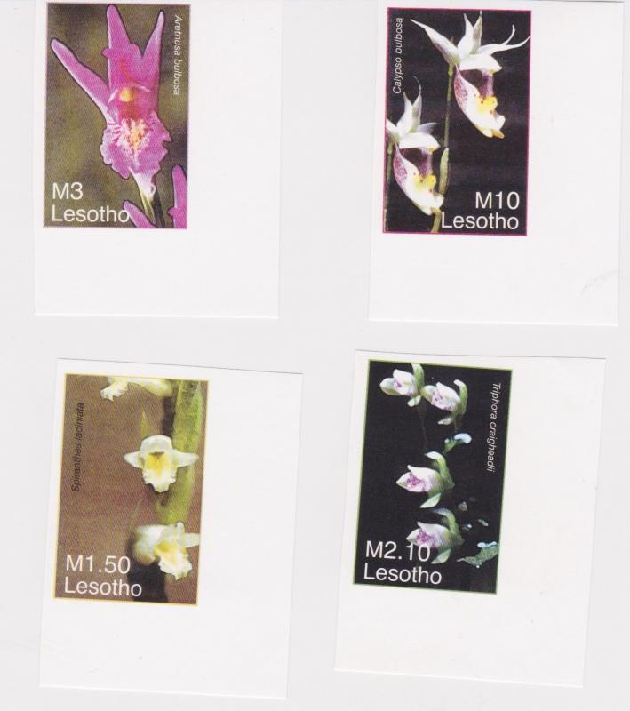 Lesotho - Orchids, Flowers, 2007 - Sc 1414-7 Set of 4 MNH - IMPERFORATE