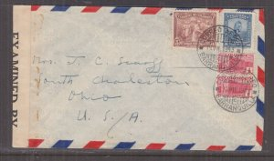 COLOMBIA, 1943 Airmail Censored cover, Barranquilla to USA 1/2c.(2), 5c. & 30c.