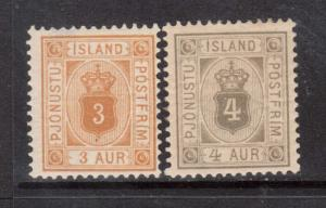 Iceland #O10 - #O11 VF Mint Duo