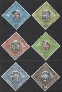 JORDAN - #491-#496 - RUSSIAN COSMONAUTS MINT SET (1965) MNH