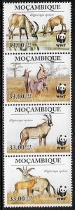 Mozambique #1930 MNH Strip - WWF - Wild Animal