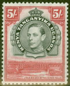 KUT 1938 5s Black & Carmine SG148 P.13.25 Fine Mtd Mint