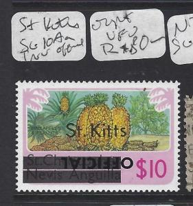 ST KITTS   (P2008B)  OFFICIAL  $10 PINEAPPLE INVERTED OFFICIAL OVPT  VFU