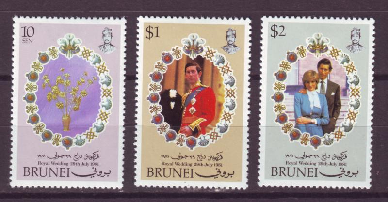 J17291 JLstamps 1981 brunei set mh #268-70 royality