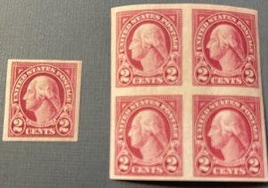 US # 577 Washington Imperf blk of 4 and 1 single MNH OG