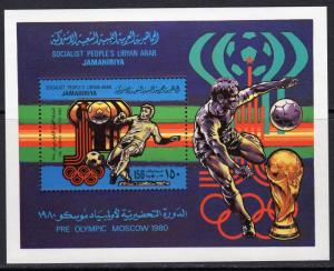 Libya 1979 Sc# 847 World Cup/ Moscow Olympics 1980 S/S (1) Perf.MNH