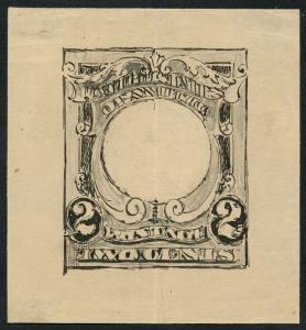 #301-E1 VAR PENCIL & INK DRAWING OF FRAME (HALF DESIGN ON BACK) W/ PFC WLM3898