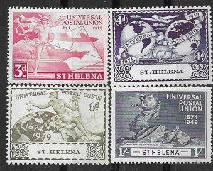 St. Helena # 132-35   U.P.U. Anniversary  1949    (4) VLH Unused
