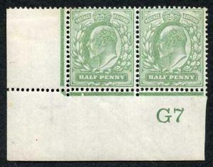 KEVII 1/2d Yellow-Green DLR Control G7 Perf V2A Pair U/M