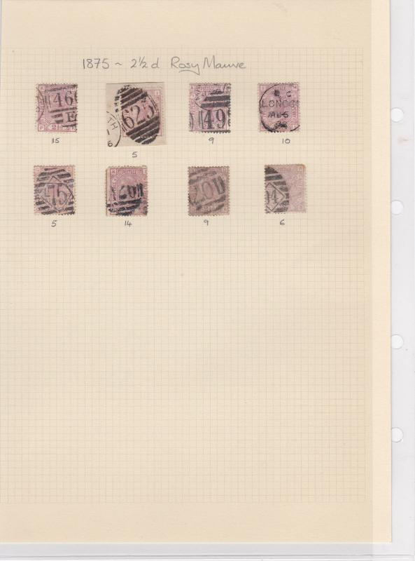 Great Britain 1875, 2 1/2d Mauve Stamps CAT£480 Ref: R6285