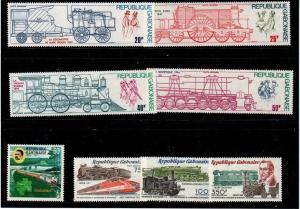Gabon Mint NH sets (Catalog Value $18.45) - Trains