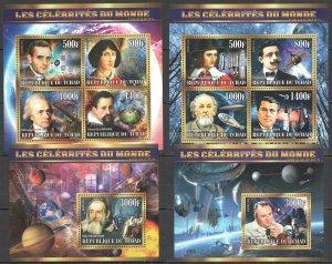 XZ0099-0100 2015 CHAD CELEBRITIES SPACE & SCIENCE ASTRONAUTICS 2KB+2BL MNH