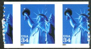US #3466 MISPERFED PAIR, mint never hinged, very fresh and eye boggling mispe...