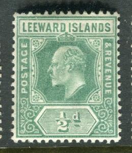 LEEWARD ISLANDS; 1907 early Ed VII issue fine Mint hinged 1/2d. value