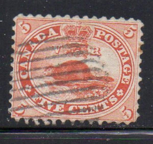 Canada Sc 15 1859 5 c Beaver stamp used