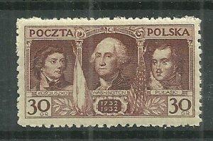 1932 Poland 267 Washington 200th Birth Anniversary MNH SCV$2.75