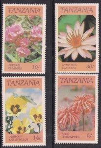 Tanzania 1986 QE2 Set Flowers MM SG 474 - 477 ( C618 )