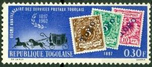 Togo 438 MLH Mail Coach and Stamps (GI0128)