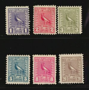 1927 The 4th difficult to get Lapwing Bird set complete MLH Uruguay #334-339