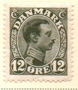 Denmark Sc 101 1918 12 ore gray green Christian X  stamp mint