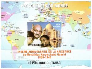 Chad 2009  World Personalities  Mahatma Gandhi S/S Perforated MNH VF