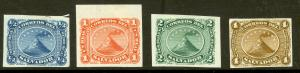 EL SALVADOR 1867 Complete First Issue PROOF SET on India Paper VOLCANO