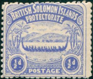 Solomon Islands 1907 SG1 ½d ultramarine Canoe MLH