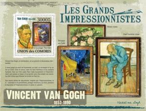 COMORES 2009 SHEET VINCENT VAN GOGH IMPRESSIONISTS ART PAINTINGS cm9318b