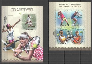 UG074 2013 UGANDA TENNIS STARS WILLIAMS SISTERS AFRICAN ORIGIN #3060-3+BL425 MNH